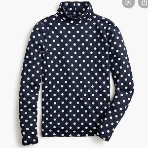 J crew polka dot fitted tissue turtleneck top